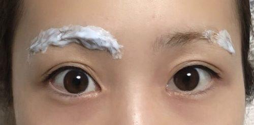 両眉クリームを塗布