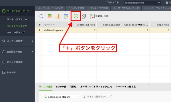 1. キーワードを追加ボタンをクリック